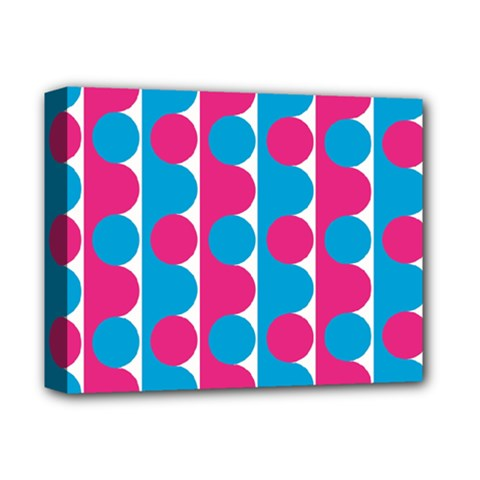 Pink And Bluedots Pattern Deluxe Canvas 14  x 11