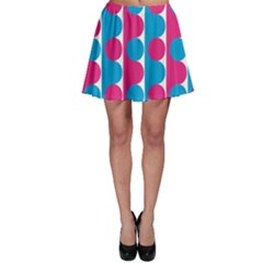 Pink And Bluedots Pattern Skater Skirt