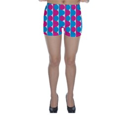 Pink And Bluedots Pattern Skinny Shorts