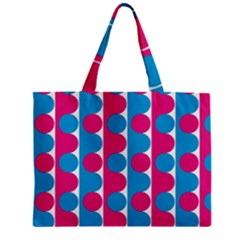 Pink And Bluedots Pattern Zipper Mini Tote Bag