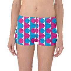 Pink And Bluedots Pattern Boyleg Bikini Bottoms