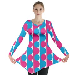 Pink And Bluedots Pattern Long Sleeve Tunic