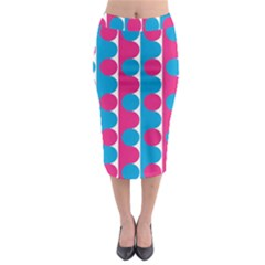 Pink And Bluedots Pattern Midi Pencil Skirt