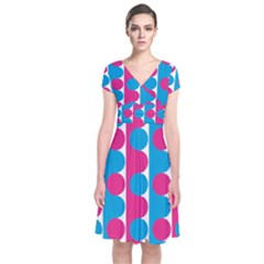 Pink And Bluedots Pattern Short Sleeve Front Wrap Dress