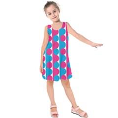 Pink And Bluedots Pattern Kids  Sleeveless Dress
