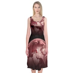 Planet Fantasy Art Midi Sleeveless Dress