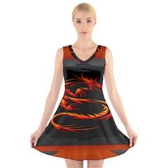 Dragon V-Neck Sleeveless Skater Dress