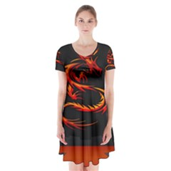 Dragon Short Sleeve V-neck Flare Dress