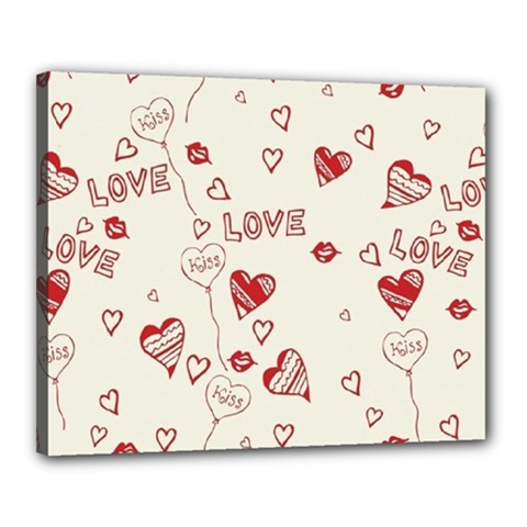 Pattern Hearts Kiss Love Lips Art Vector Canvas 20  x 16