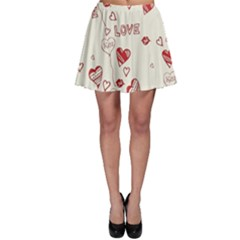 Pattern Hearts Kiss Love Lips Art Vector Skater Skirt