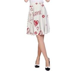 Pattern Hearts Kiss Love Lips Art Vector A-Line Skirt