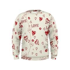 Pattern Hearts Kiss Love Lips Art Vector Kids  Sweatshirt