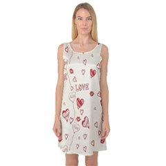 Pattern Hearts Kiss Love Lips Art Vector Sleeveless Satin Nightdress