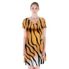 Tiger Skin Pattern Short Sleeve V-neck Flare Dress