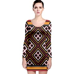 Toraja Pattern Pa re po  Sanguba ( Dancing Alone ) Long Sleeve Bodycon Dress