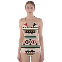 Tribal Pattern Cut-Out One Piece Swimsuit