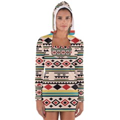 Tribal Pattern Women s Long Sleeve Hooded T-shirt