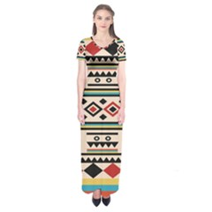 Tribal Pattern Short Sleeve Maxi Dress