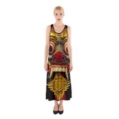 Bali Mask Sleeveless Maxi Dress