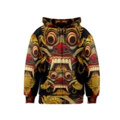 Bali Mask Kids  Zipper Hoodie