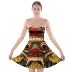 Bali Mask Strapless Bra Top Dress
