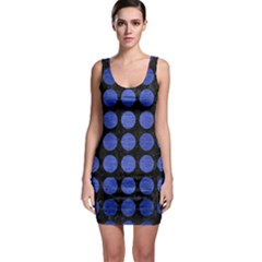 Circles1 Black Marble & Blue Brushed Metal Bodycon Dress