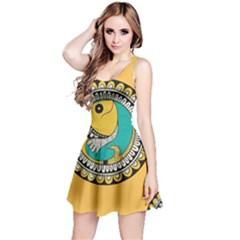 Madhubani Fish Indian Ethnic Pattern Reversible Sleeveless Dress