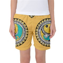 Madhubani Fish Indian Ethnic Pattern Women s Basketball Shorts