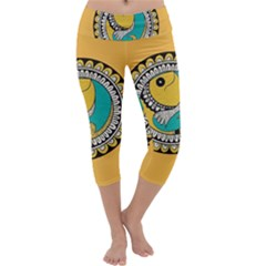 Madhubani Fish Indian Ethnic Pattern Capri Yoga Leggings