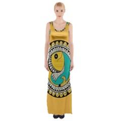 Madhubani Fish Indian Ethnic Pattern Maxi Thigh Split Dress