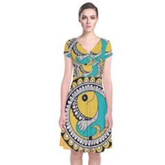Madhubani Fish Indian Ethnic Pattern Short Sleeve Front Wrap Dress