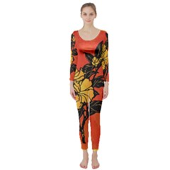 Vector Asian Flowers Long Sleeve Catsuit