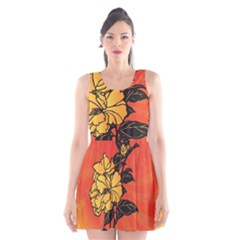 Vector Asian Flowers Scoop Neck Skater Dress