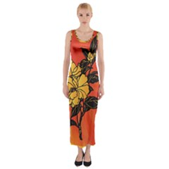 Vector Asian Flowers Fitted Maxi Dress