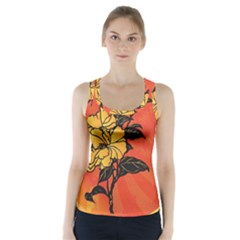 Vector Asian Flowers Racer Back Sports Top