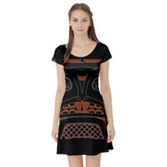 Traditional Northwest Coast Native Art Short Sleeve Skater Dress