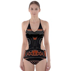 Traditional Northwest Coast Native Art Cut-Out One Piece Swimsuit
