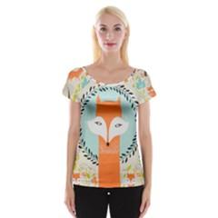 Foxy Fox Canvas Art Print Traditional Women s Cap Sleeve Top