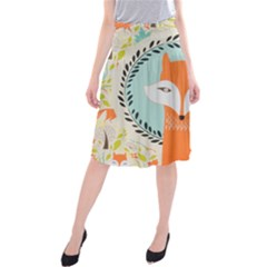 Foxy Fox Canvas Art Print Traditional Midi Beach Skirt