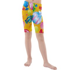 Sweets And Sugar Candies Vector  Kids  Mid Length Swim Shorts
