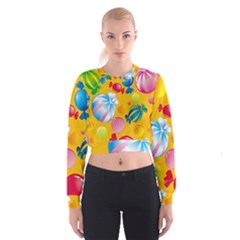 Sweets And Sugar Candies Vector  Cropped Sweatshirt