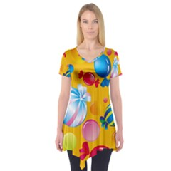 Sweets And Sugar Candies Vector  Short Sleeve Tunic