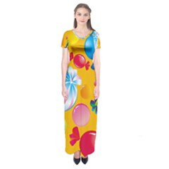 Sweets And Sugar Candies Vector  Short Sleeve Maxi Dress