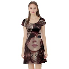 Beautiful Women Fantasy Art Short Sleeve Skater Dress