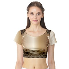 Floral Short Sleeve Crop Top (Tight Fit)