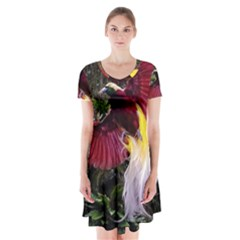 Cendrawasih Beautiful Bird Of Paradise Short Sleeve V-neck Flare Dress