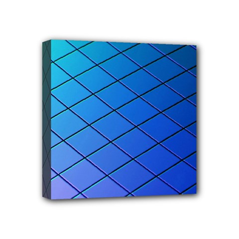 Blue Pattern Plain Cartoon Mini Canvas 4  x 4