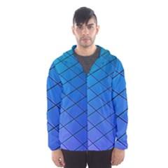 Blue Pattern Plain Cartoon Hooded Wind Breaker (Men)