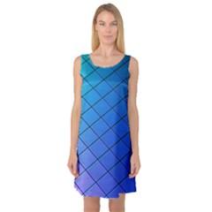 Blue Pattern Plain Cartoon Sleeveless Satin Nightdress