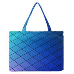 Blue Pattern Plain Cartoon Medium Zipper Tote Bag